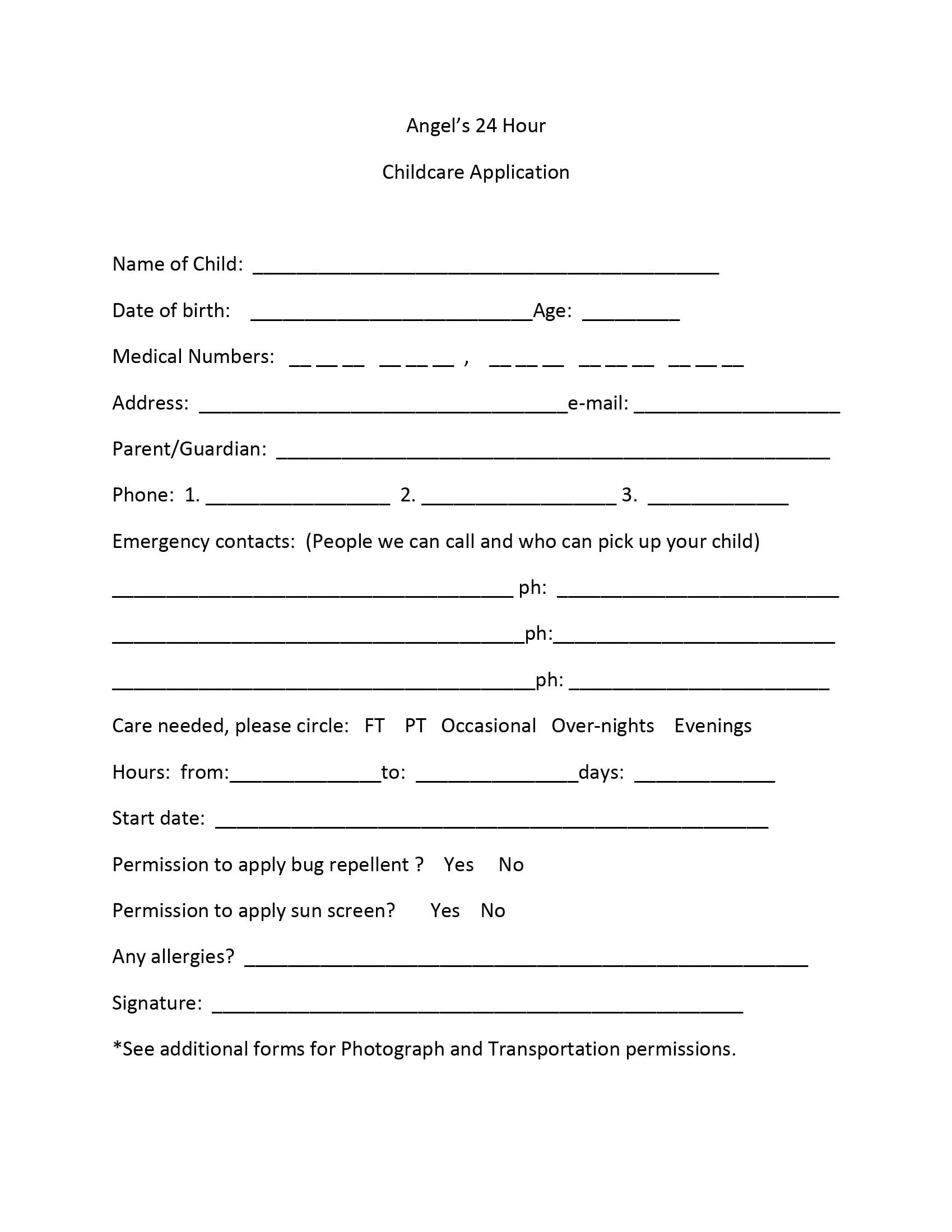Childcare Application Form Print Childcare Application Form Images ...